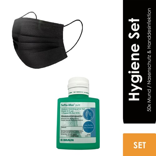 Hygiene Set - 50x Mund / Nasenschutz black + 100ml Handdesinfektion
